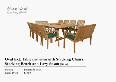 34-Oval-ext-table-with-staching-chairs-stacking-bench-and-lazy-susan